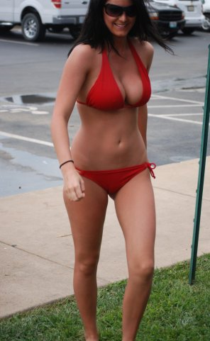 amateur photo filled out red bikini