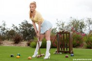 Jayme Langford playing croquet