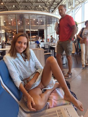 amateur photo Cutie showing off in the airport