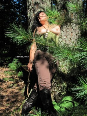 amateur photo Original Content[46f] - Topless Corset in the Woods.