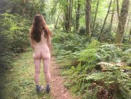 My wi[f]e enjoying a secluded trail.