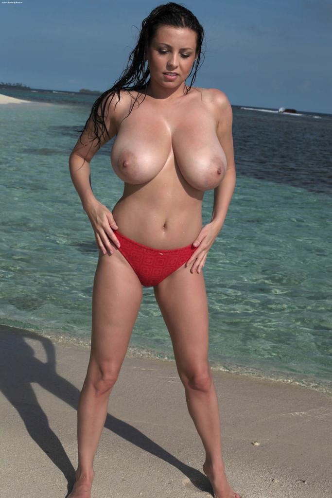 Topless beach with biggest natural boobs