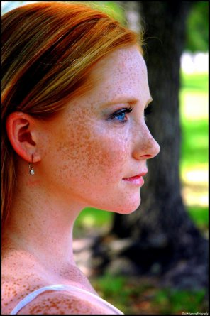 amateur photo Red hair, blue eyes and freckles