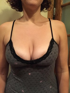 amateur photo Tank Top Barely Holding My Wife's Tits