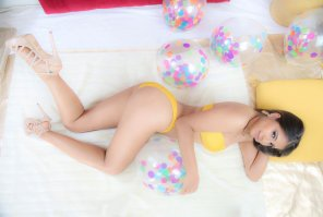 amateur photo Yellow Bikini with Balloons