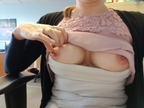 amateur photo Horny at work... my tits wanted to come out and play...