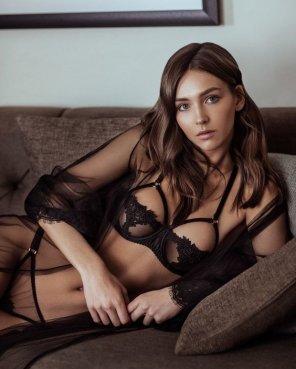 amateur photo Rachel looks amazing in black lingerie