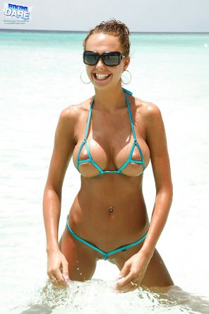 amateur photo Itsy Bitsy Teeny Weeny Cyan String Bikini