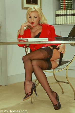 amateur photo Blonde at work