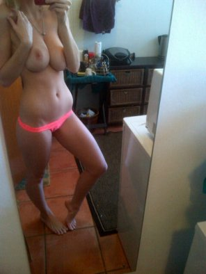 amateur photo Posing in pink panties