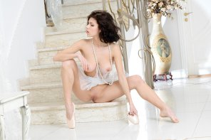amateur photo Ballerina on a marble staircase