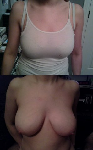 amateur photo Wife keeps trying to squeeze into 34D bras. You think she has outgrown them? #2