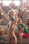 amateur photo Blonde Getting Body Painted