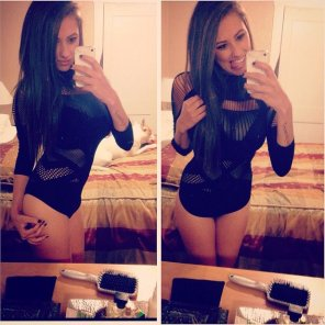 amateur photo Black Leotard Selfies
