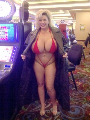 amateur photo Claudia Marie wearing a tiny bikini in a Vegas casino