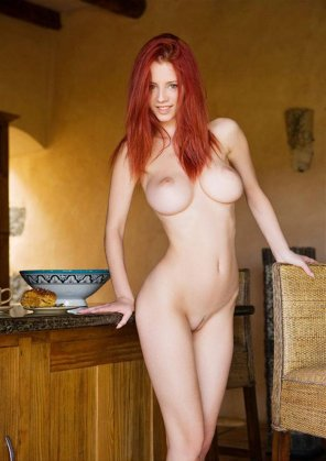 amateur photo Pale skin, red hair, perfect body