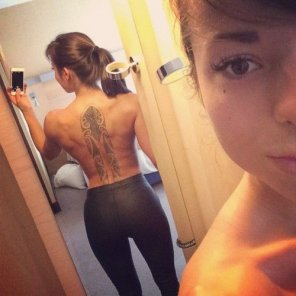 amateur photo Tattoo on her back is just awesome.