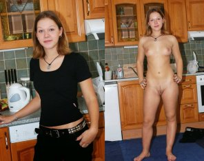 amateur photo Black Clothes in Kitchen