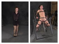 A nice before and after shot of a cute girl getting herself into a predicament
