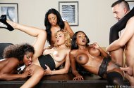 amateur photo Anya Ivy - Ebony Girls 4 ON 1 office bang