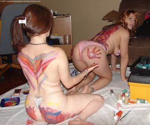 amateur photo Ass painting a redhead