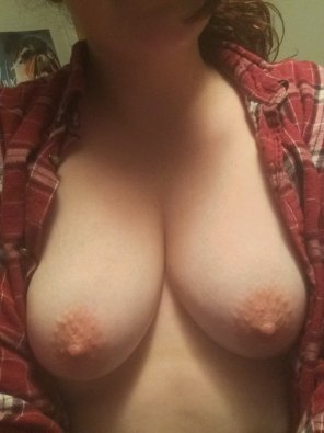 amateur photo Flashing my cute titties, cum on them!
