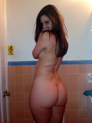 amateur photo Bashful in the bathroom