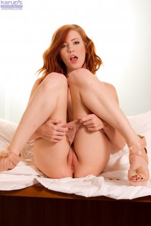 amateur photo Redhead with Her Knees Up