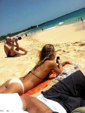 amateur photo Lying on the beach