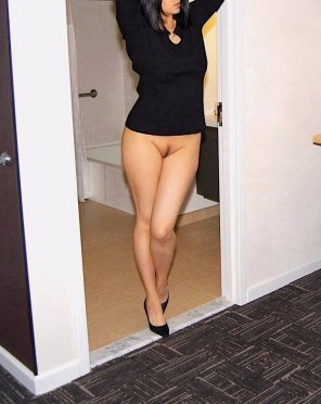 amateur photo Black Sweater Black Heels