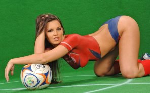 amateur photo Hot body paint soccer babe