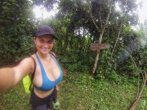 amateur photo Huge Boobs on a Hike