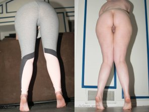 amateur photo Leggings on/off