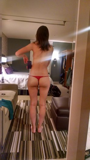 amateur photo Mirror selfie in a thong