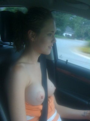 amateur photo Topless driving