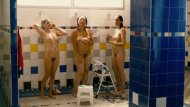 Three girls showering
