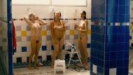 Three girls showering