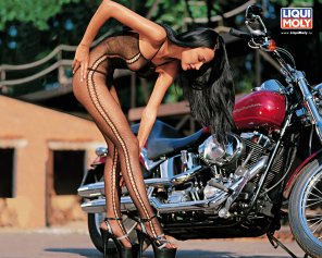 amateur photo Babe with her bike