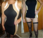 amateur photo Married mom about to go on date night, shows hubby what's under the dress...