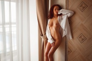 amateur photo Redhead in White