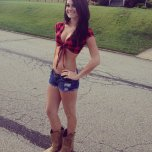 amateur photo Cut offs and cowboy boots