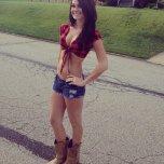 amateur photo Cut offs and cowboy boots