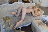 Naked girl on couch