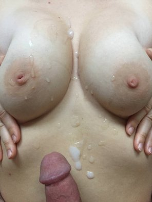 amateur photo My tits look better with cum on them :)