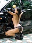 amateur photo Washing the car