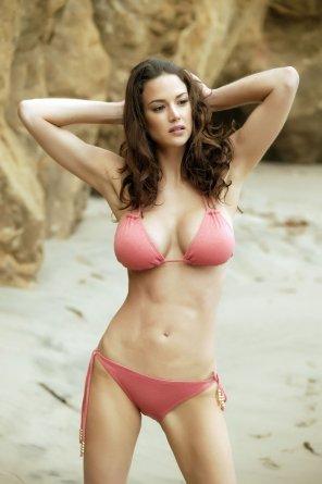 amateur photo Beautiful busty brunette bikini beach woman