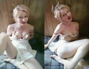 amateur photo Little blonde tease
