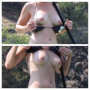 amateur photo My wife flashing her tits at the lake