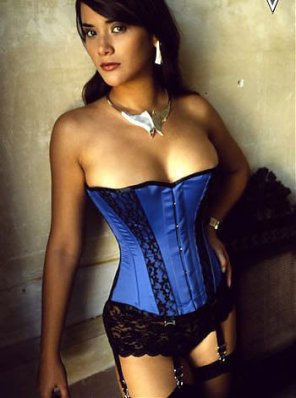 amateur photo Blue corset