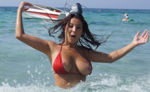 amateur photo Bikini top malfunction